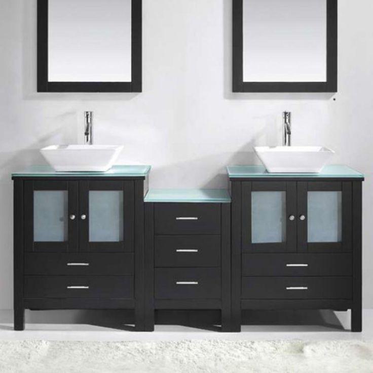 Virtu USA Brentford 72-in. Espresso Double Bathroom Vanity Set MD-4472 - MD-4472-G-ES