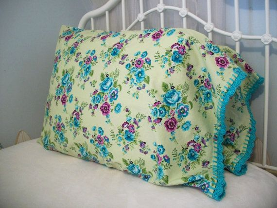 Pillowcase With Crochet Trim - Teal Blue, Green, and Rose Clusters by Downy&Floral