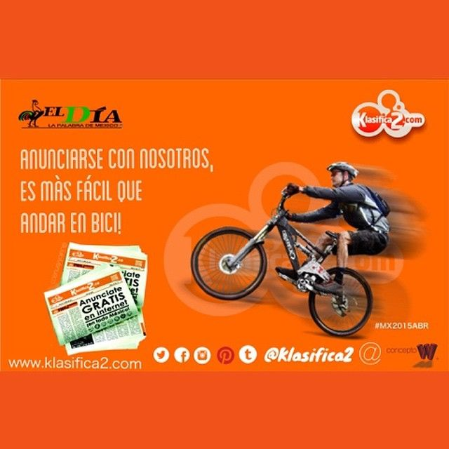 """15 Me gusta, 1 comentarios - Anunciate #Gratis, AnunciaT Ya (@klasifica2) en Instagram: """"#K2 @ElDiaMexico Anunciarse con nosotros, es más fácil que andar en bici!! Qué esperas? ➡️…"""""""