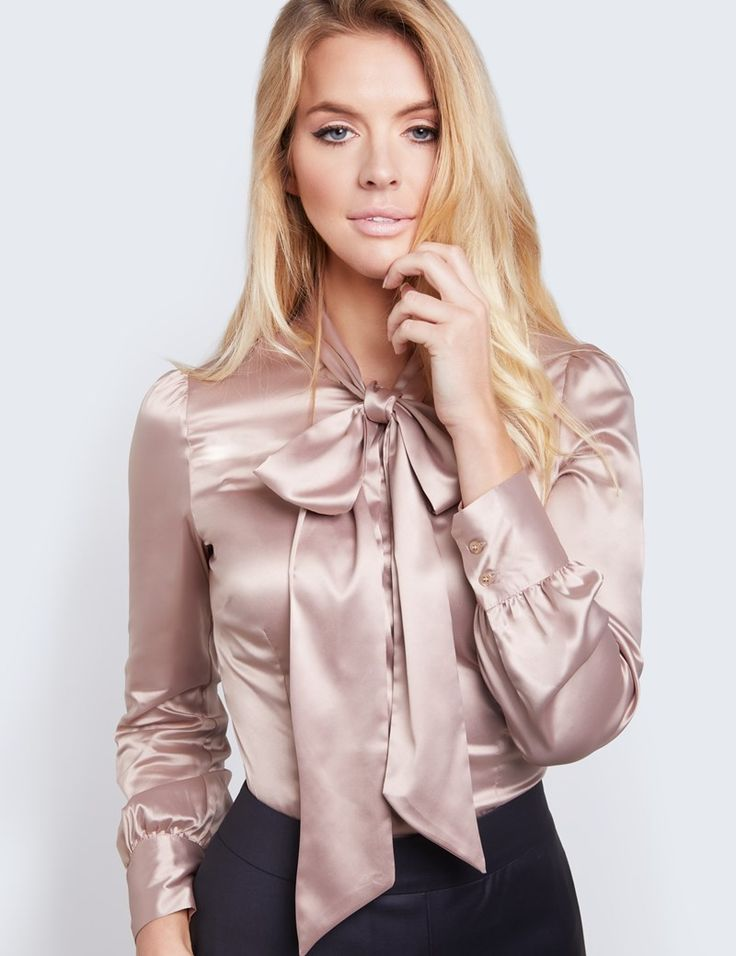 Women's Taupe Fitted Luxury Satin Blouse - Pussy Bow | Hawes and Curtis