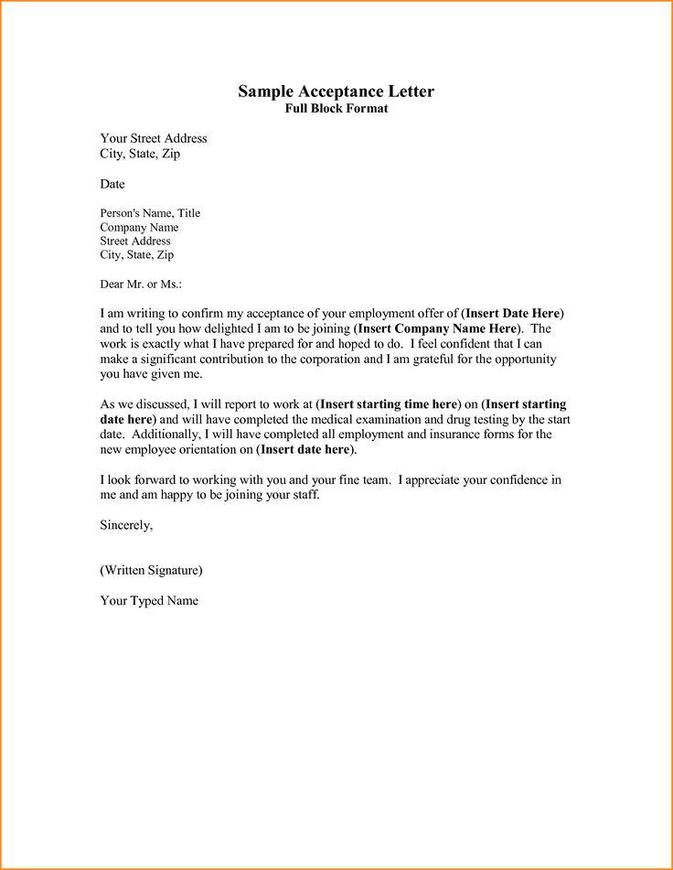 sample acceptance letter full block format your street