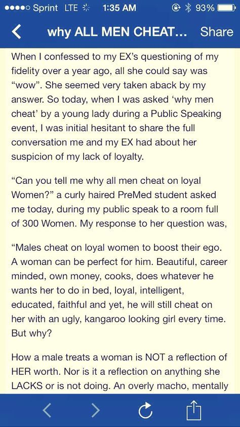 I made sure I got everything in the screenshots, just double click on the pictures to see the full picture or click the link below to open the page. Please don't forget to like if you read it all and liked it.:) http://realnewspaper.wordpress.com/2014/03/13/why-men-cheat-on-loyal-women/