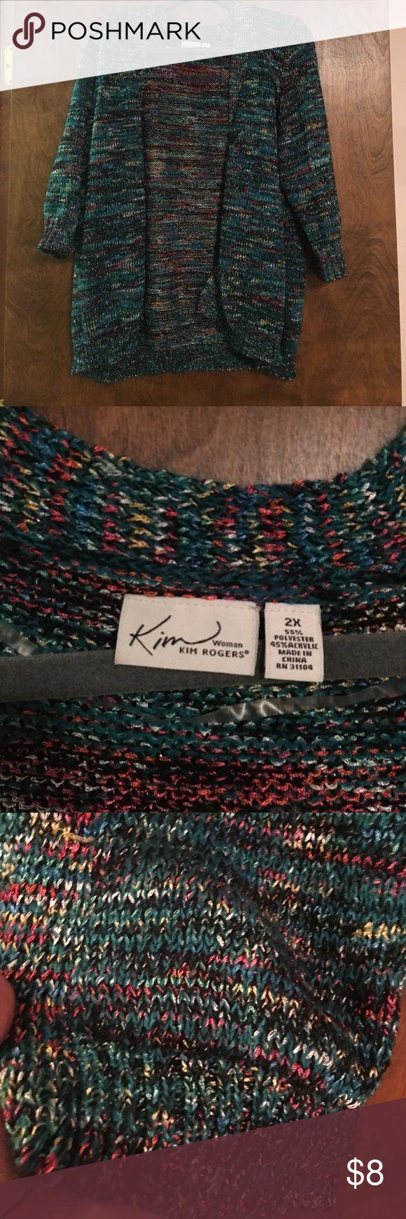 Multi color cardigan Kim Rogers multi Color cardigan worn one time Kim Rogers Sweaters Cardigans