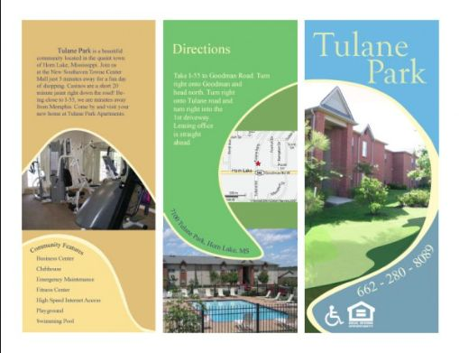 this brochure example is for an apartment complex i think this is done very well