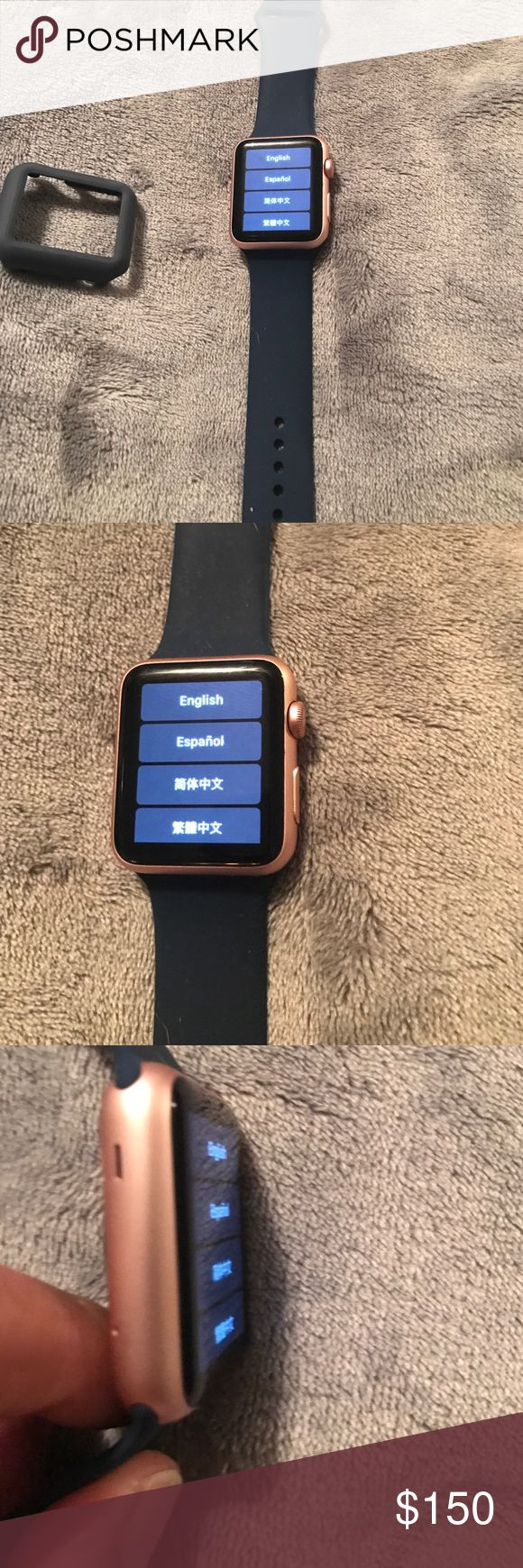Apple Sport Watch The watch is in great shape! Works perfectly and this is the 42mm in rose gold with a navy band. Apple Watch Accessories Watches