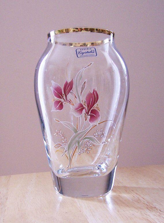 Vintage Bohemia Crystalex Vase Handpainted Crystal Vase