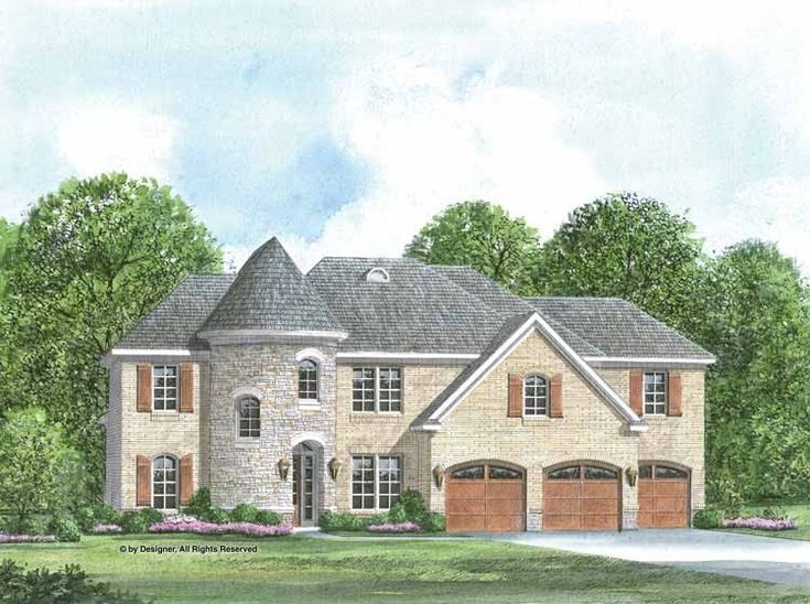 Cottage house plan with 3973 square feet and 6 bedrooms for House plans with turrets