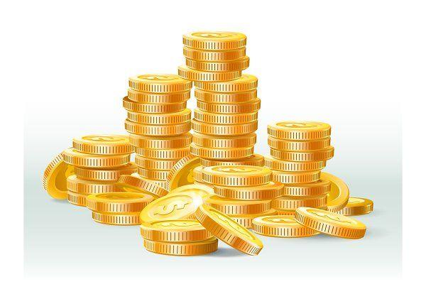 Golden Coins Pile Gold Coin Dollar Money Stacks Gold Coins Golden Coin