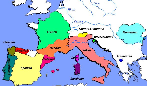 After the split of the Roman Empire in 330 CE, the empire primarily split into two languages Latin and Greek. From Latin there sprouted four languages mostly in Western Europe. French, Spanish, Italian, Romanian, each of them are primarily spoken in Europe because of their European roots. Each of the languages has similarities with each other because of the same parent language, that is called Vulgar Latin, a slight variation of Latin.