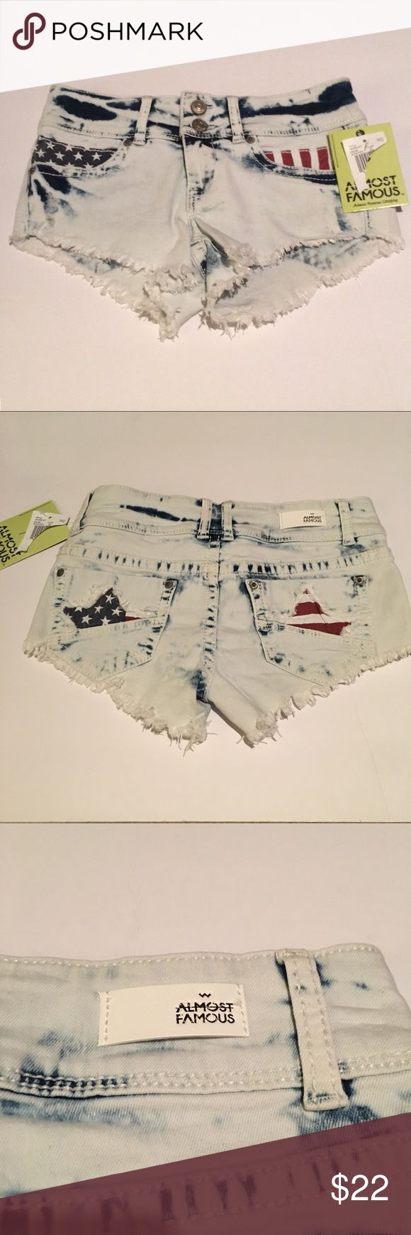 Almost Famous American Flag Shorts These Almost Famous shorts are nwt. They feature American flag pockets in the front and stars on the back pockets. Bleach washed. Almost Famous Shorts Jean Shorts