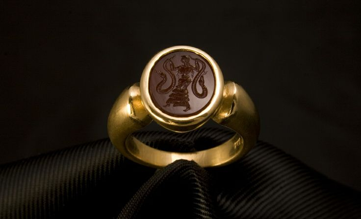 Handmade Signet Ring in K22 Gold. Minoan Snake Goddess.