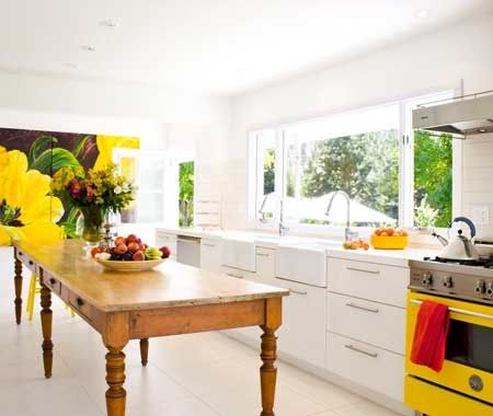 Kitchen With Yellow Accents | House & HomeDreams Kitchens, Yellow Stoves, Harvest Tables, Kitchens Tables, Design Kitchen, Burgers, Farmhouse Tables, Modern Kitchens, White Kitchens