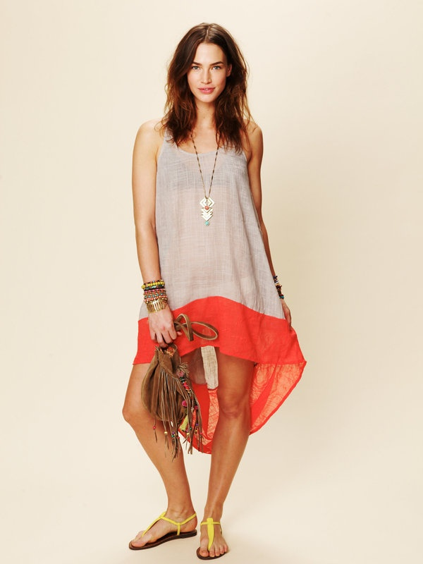 Beach Dresses, Block Dresses, Summer Dresses, Low Colors, Free People, Colors Block, Hi Low Dresses, High Low, Covers Up