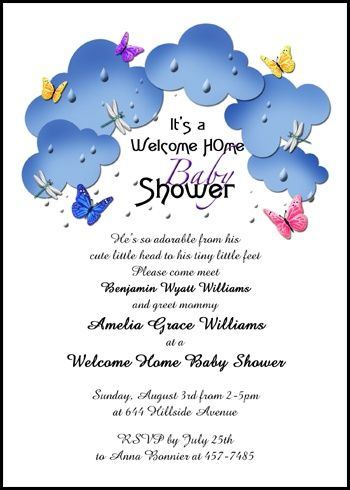 personalize your welcoming mom and new baby butterflies in the clouds welcome home shower party invites with your own invitation wordings, verses, and sayings at InvitationsByU.com, like card 7687IBU-WH with discounts, freebies, and other special promos