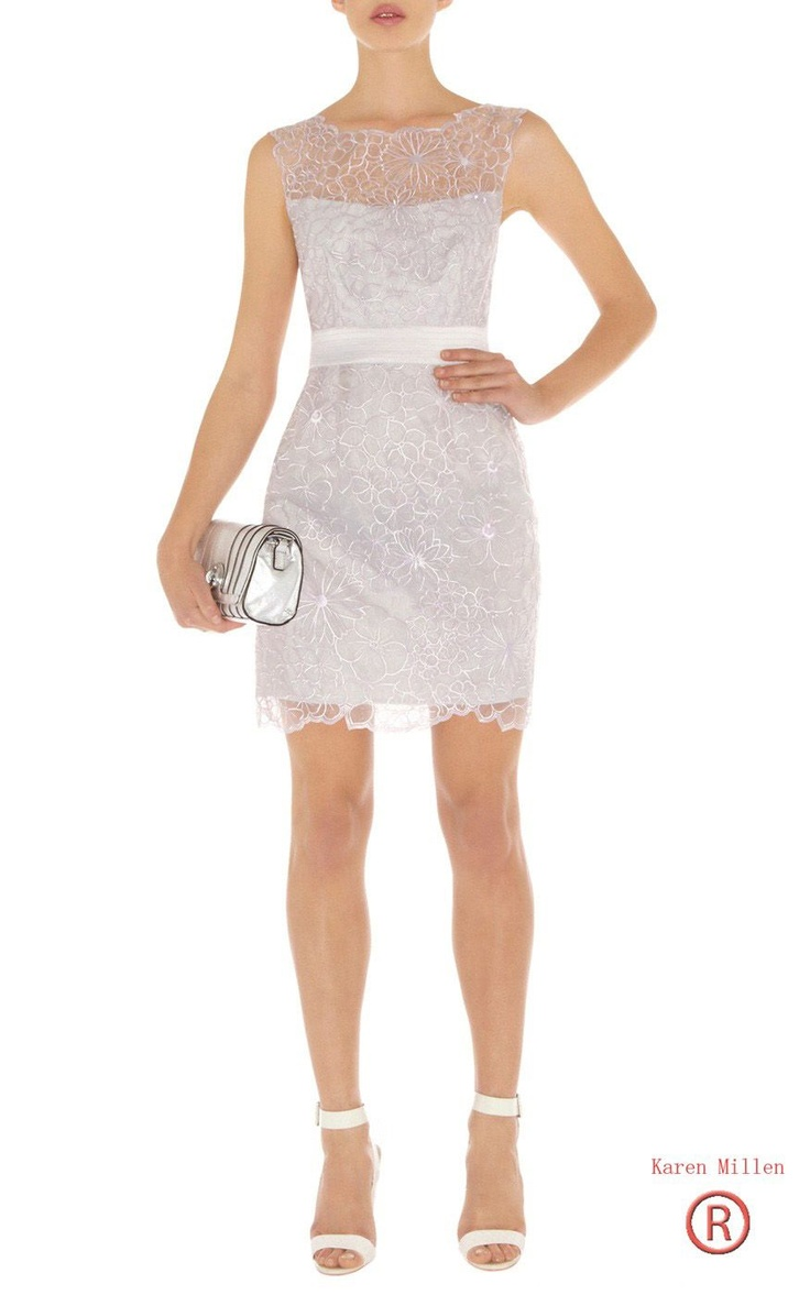 Karen Millen Floral Cutwork Dress Silver Dn155