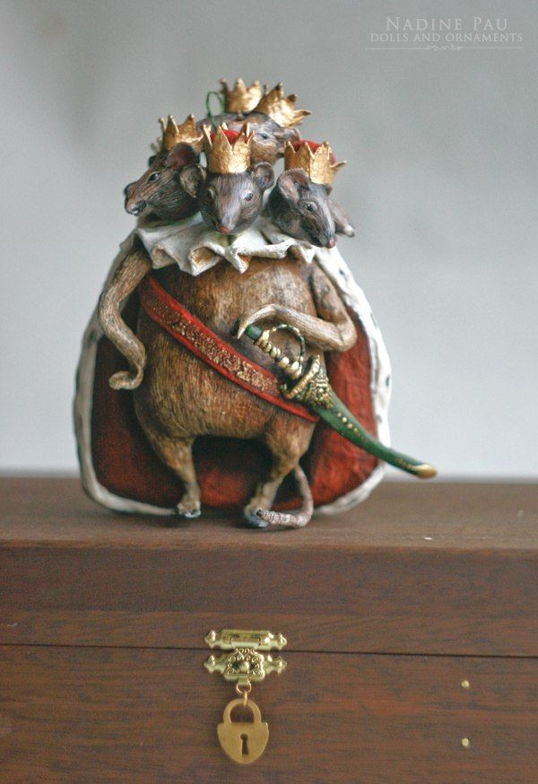 Mouse King .   by Nadine Pau. Christmas ornaments. Papier mache, oil patina varnish. Sold #christmasornaments #nadinepau