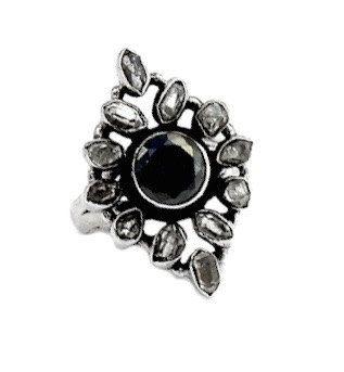 Genuine Black Onyx Round Gemstone with Herkimer Diamonds set into 925 Sterling Silver Victorian Style Statement Jewellery Ring US Sz. 8.5 by Ameogem on Etsy
