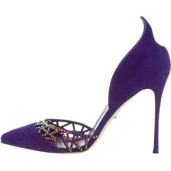Pre-owned Sergio Rossi Embellished Suede d'Orsay Pumps ($275) ❤ liked on Polyvore featuring shoes, pumps, purple, colorful shoes, d orsay pumps, suede pointed toe pumps, multi colored pumps and colorful pumps