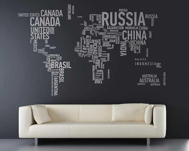 Typographic world map wall art
