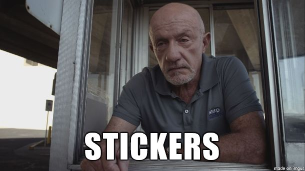Better Call Saul - Mike Ehrmantraut requiring stickers from Jimmy McGill.