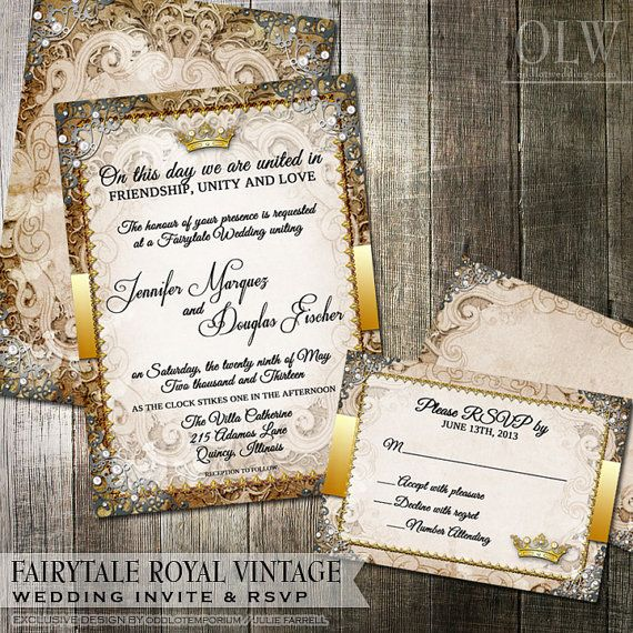Vintage Fairytale Royal Wedding Invitation and RSVP Card | Digital Printable Invitation | Princess or Royal Wedding Stationery