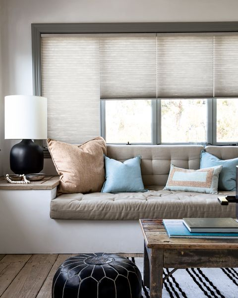 Cambria Grand Cell Honeycomb Shades - 16344- Living room bay window coverings