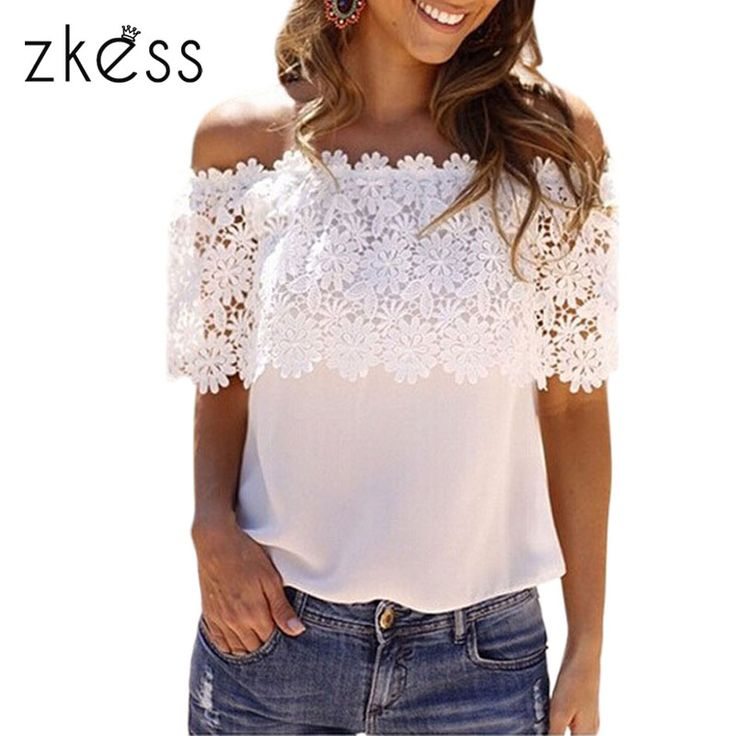 Zkess 2015 New Summer Short Bohemian  Tops White Lace Spliced Off Shoulder Chiffon Top 25684-in Tank Tops from Women's Clothing & Accessories on Aliexpress.com | Alibaba Group