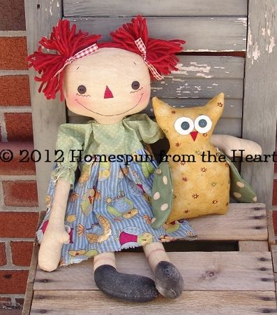 Raggedy doll with owl Pattern