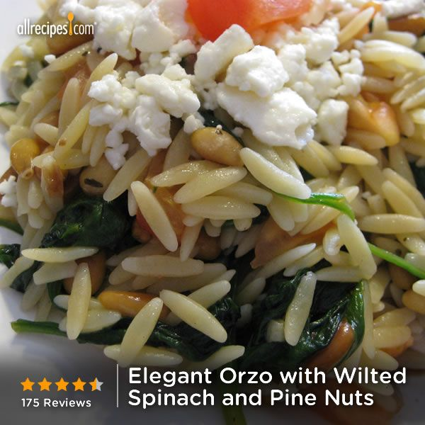 "Elegant Orzo with Wilted Spinach and Pine Nuts | ""Orzo pasta with wilted spinach, feta cheese, tomatoes, and balsamic vinegar - goes well with fish or chicken."""
