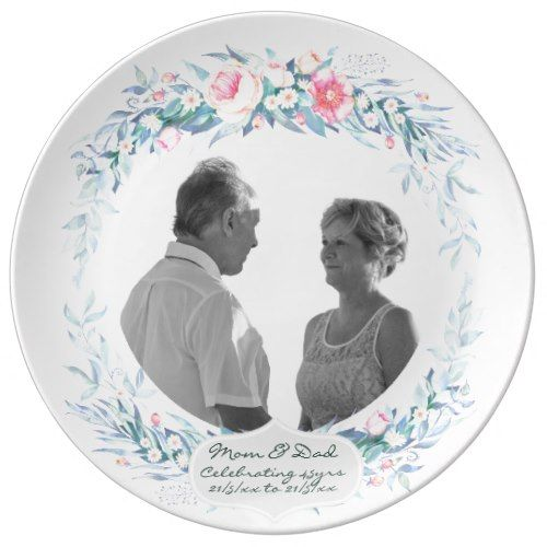45th Wedding Anniversary PHOTO Floral Flowers Porcelain Plate