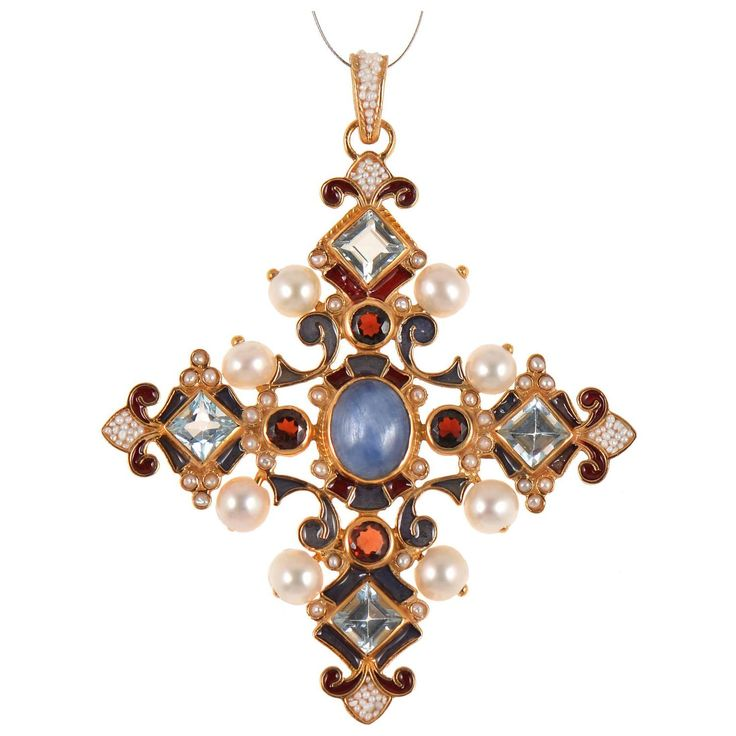 Unique Orthodox Cross Pendant with Blue Topaz by Diego Percossi Papi | See more antique and modern Miscellaneous Jewelry at https://www.1stdibs.com/furniture/more-furniture-collectibles/miscellaneous-jewelry