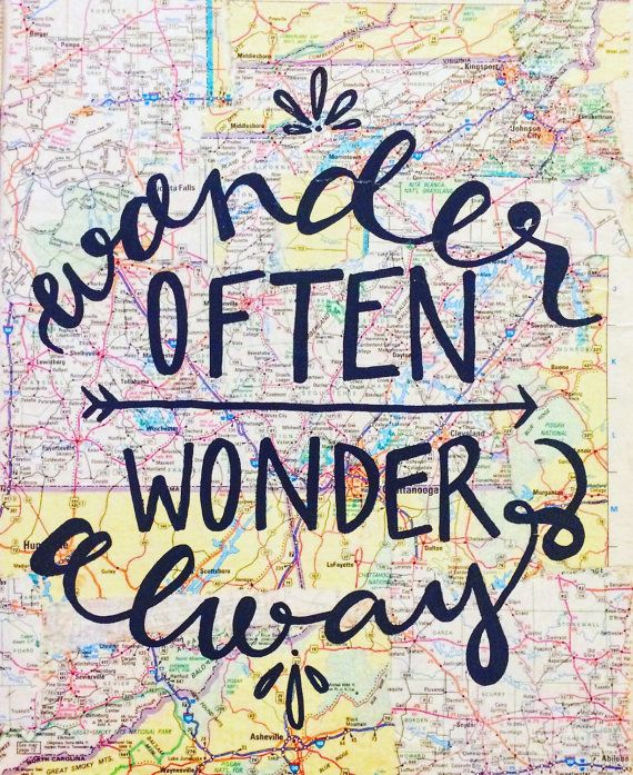 Wander Often Wonder Always Map Canvas Quote by kalligraphy on Etsy