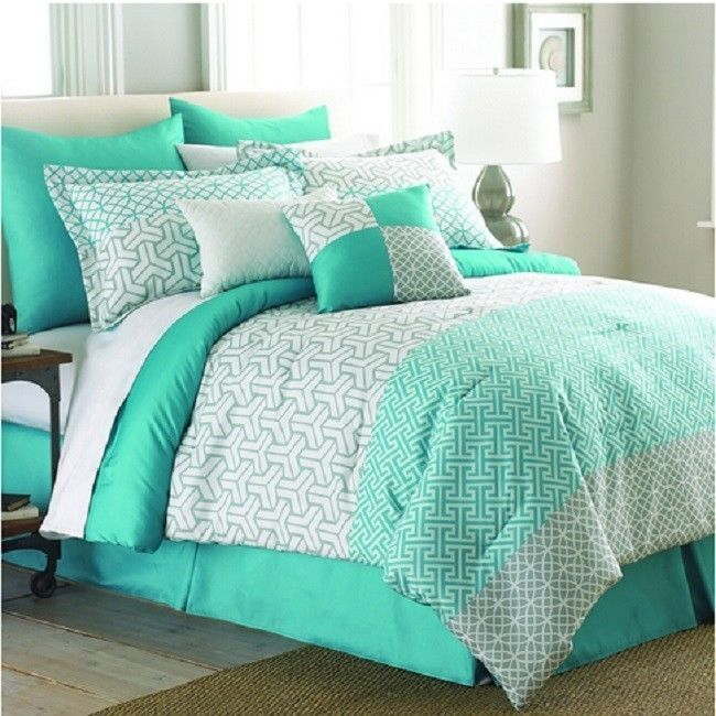 Mint Green 8-piece Comforter Set White King Queen Bedding Pillows Bag Dorm  Bed #