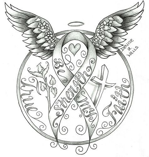 strenth awareness ribbon tattoo design by denise a wells tattoo designs by denise a wells. Black Bedroom Furniture Sets. Home Design Ideas