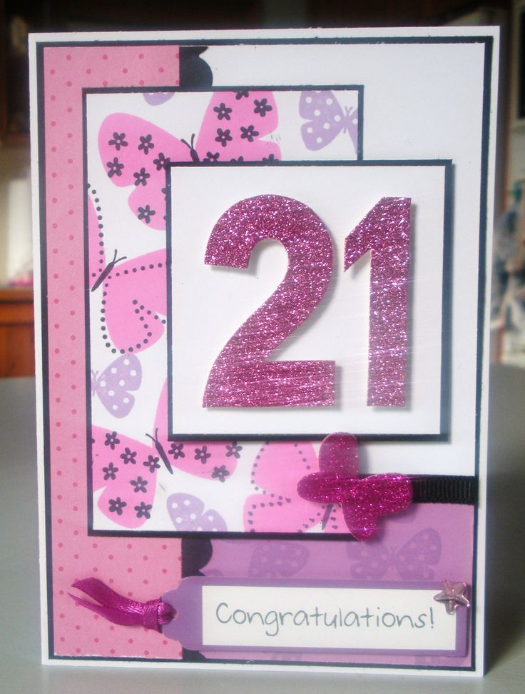 Handmade 21st birthday card ... Blog - EnchantINK ... Stampin' Up! - Flight of the Butterfly