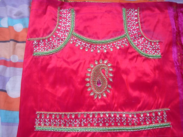 Kundan Stone And Embossed Thread Work Done For A Baby