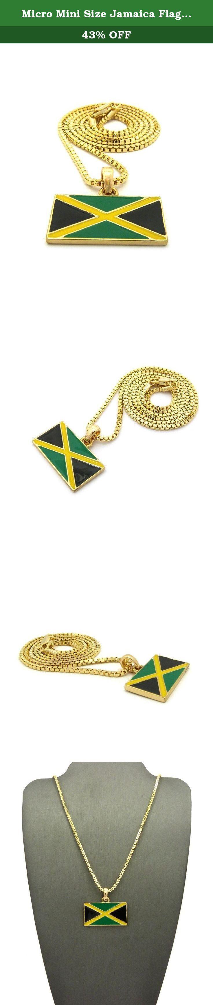 """Micro Mini Size Jamaica Flag Pendant 2mm 16"""",18"""",20"""" 24"""" Box Chain Necklace Gold, Silver Tone (Gold - 2mm 24"""" Box Chain). Micro Mini Size Jamaica Flag Pendant 2mm 16"""",18"""",20"""" 24"""" Box Chain Necklace Gold, Silver Tone."""