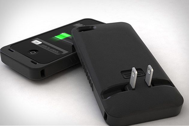 love this - no more cord. too bad this would be too hard to rollout for android phones :/: Chargers Cases, Iphone Cases, Idea, Built In, Iphone Chargers, Travel Accessories, Juicetank Iphone, Phones Cases, Products
