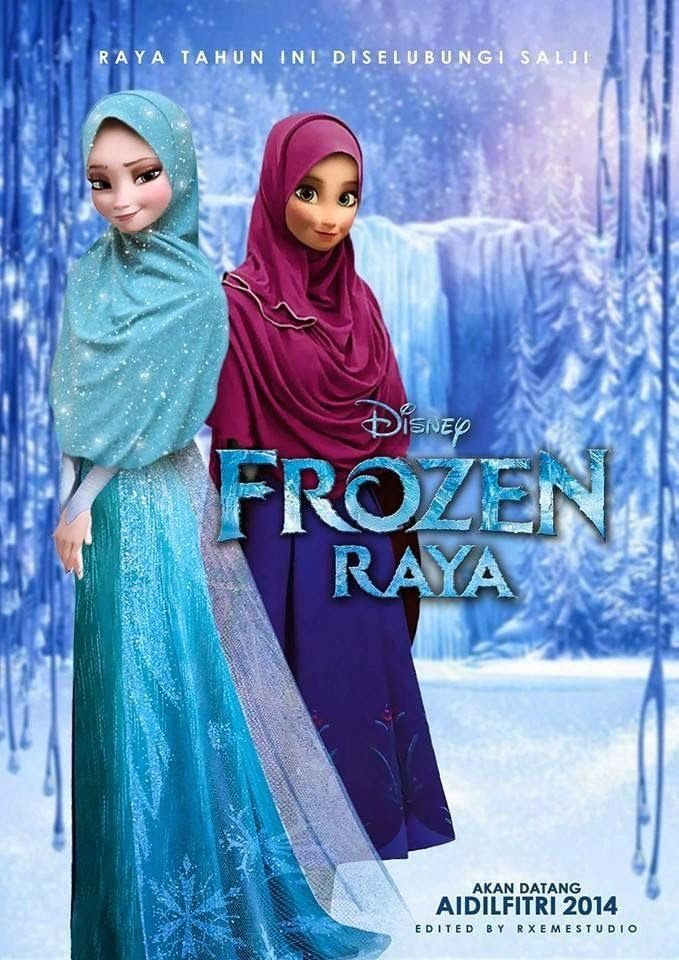 """Promotional Movie Poster for """"Frozen"""" as it might have appeared if the characters were Muslim"""
