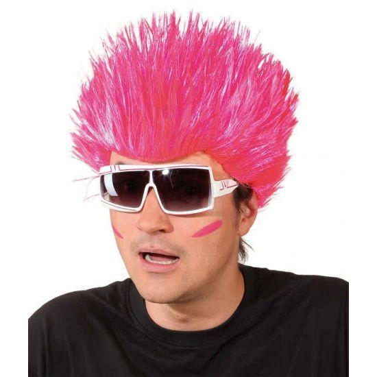 Neon roze spike pruik. Neon roze pruik voor volwassenen met spikes.