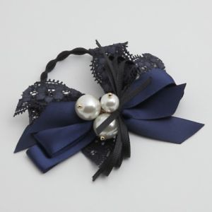 Satin lace hair bow pearl balls ponytail holder