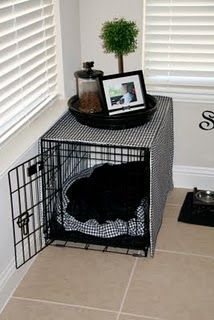 Our dog's kennel resides in my Mom Cave, so I'll draw inspiration from this post when camouflaging it. Classy dog kennel.