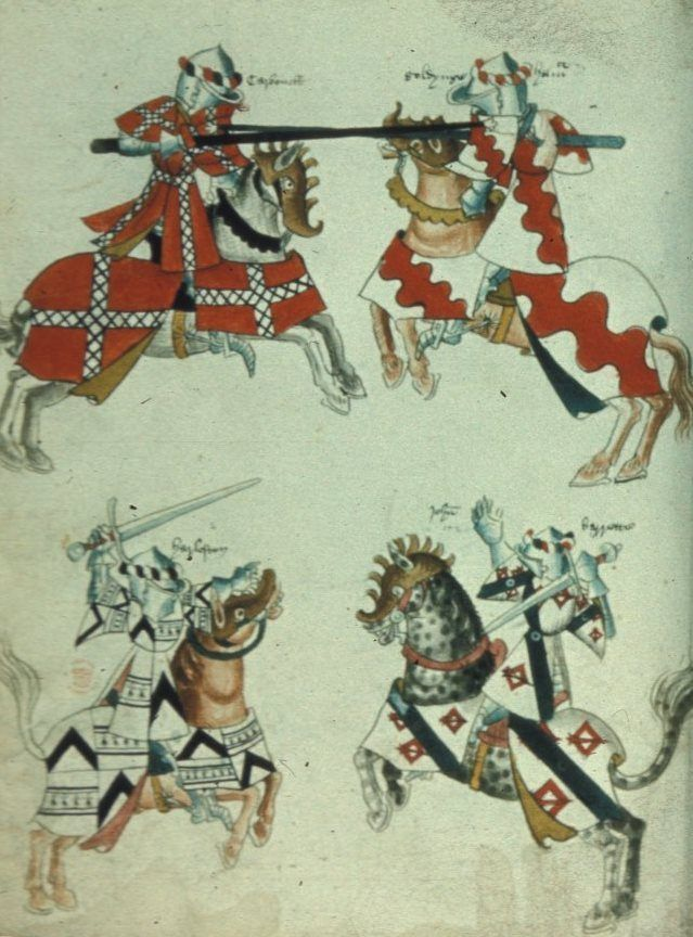 Combatant mounted knights in armour and tabard, c.1446. The British Library, Public Domain