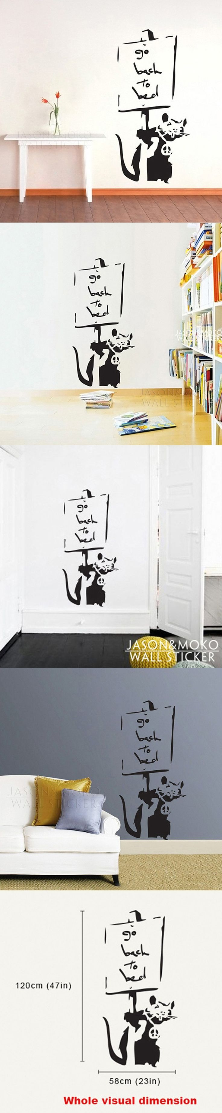 Go to Bed Rat - Banksy Wall Stickers   wall deco mural wallpaper  for home  wall art  58*120CM  Free shipping