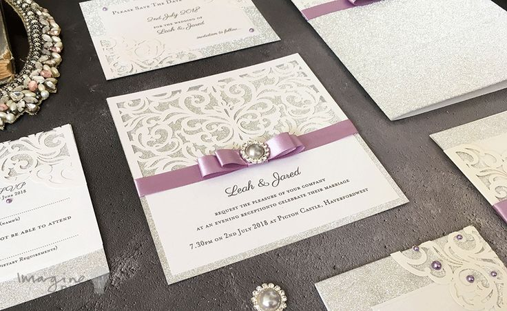 DIY wedding stationery. Silver glitter. How to make your own wedding stationery