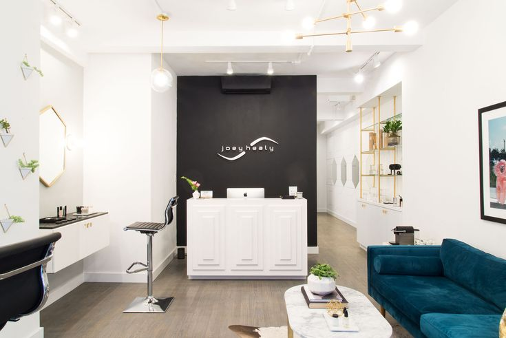 For Joey Healy, an eyebrow studio near Union Square, Homepolish's Tina Apostolou raised the brow, er, bar with geometric design.