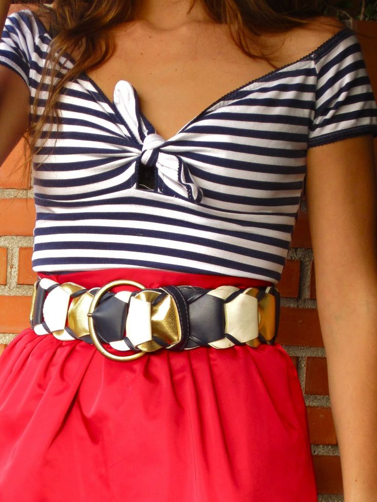 love it!: The Knot, Colors Combos, Cute Tops, Dreams Closet, Cute Outfits, Skirts Outfits, Dresses, Stripes, Red Skirts