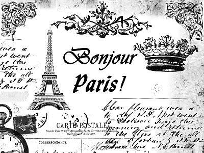 Paris Collage From Free Vintage Digital Stamps