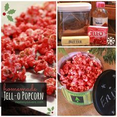 This Jell-o popcorn recipe is good any time of year, but looks so pretty during the holidays.  It brings back memories, too - I loved eating this stuff as a kid.