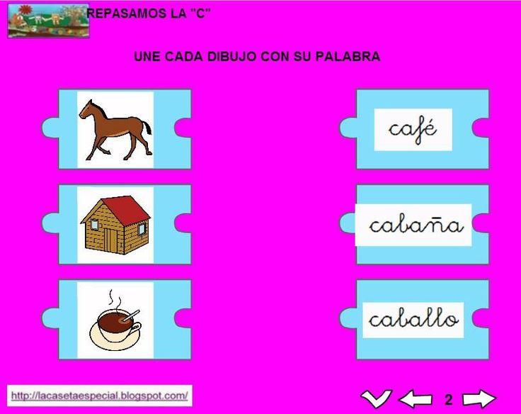 MATERIALES - Juegos LIM de lectoescritura: c Se trata de juegos hechos con el editor de actividades EdiLim para trabajar la lectoescritura de manera divertida. Cada juego trabaja una letra y encontraremos actividades como: unir imagen con palabra, juego de memoria, ordenar sílabas y ordenar palabras para formar frases. Descomprimir la carpeta JOC_EDILIM_C.zip Pulsar dos veces sobre el archivo repasamos_la_c.html.